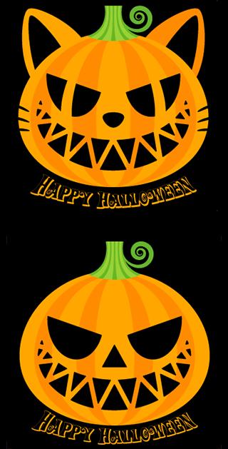 ハロウィンのかぼちゃ:ねこバージョン切り絵
