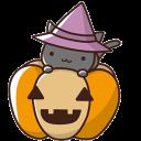 【ハロウィン素材】かぼちゃと魔女猫