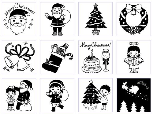 かわいい白黒の無料イラスト 季節行事のイラスト