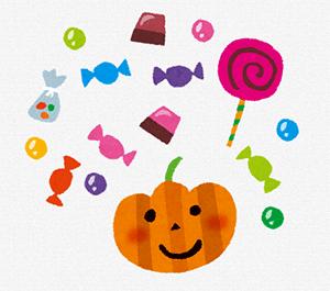 かぼちゃとキャンディーのイラスト