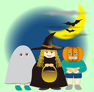 ハロウィン 仮装の子供たち