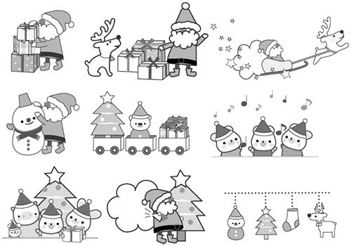 クリスマスのかわいい白黒イラスト全部無料で使えるぞ 年賀状